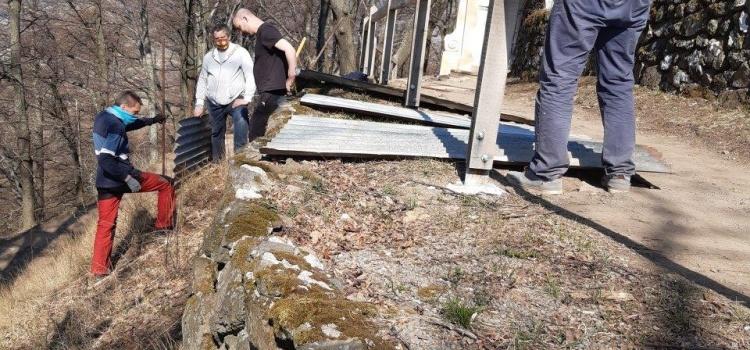 Opravy oporných múrikov na Kalvárii